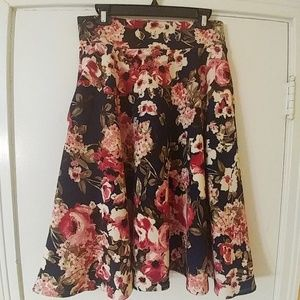 NWT Navy Floral Midi Skirt AGNES & DORA L 12-14